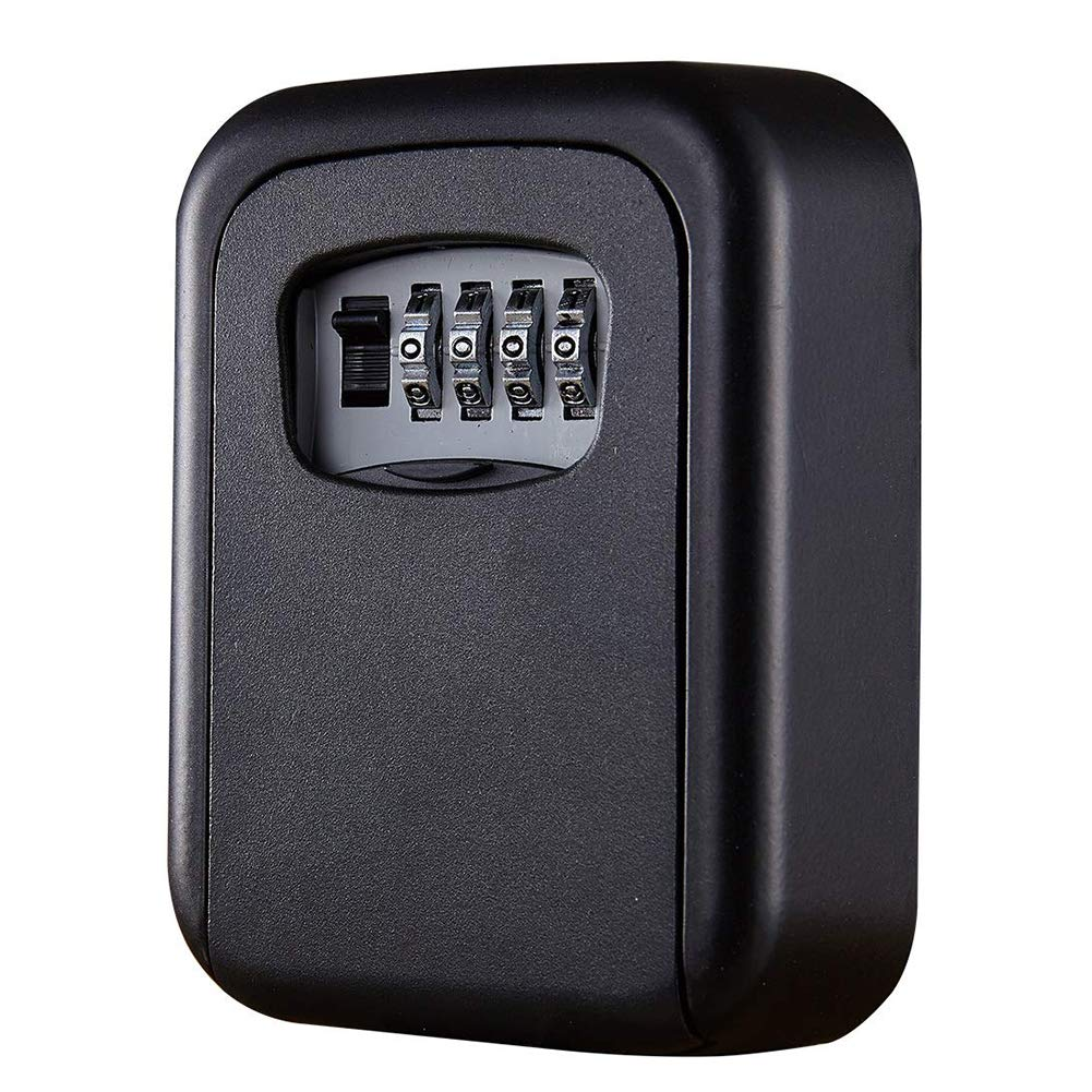 JUN-L Key Lock Box, House Key Storage Lock Box with 4 Digits Combination Outdoor Key Safe Lock Box for Outside, Sturdy Wall Mounted Password Box with Mounting Kit & Waterproof Cover (Black) by JUN-L (Image #1)