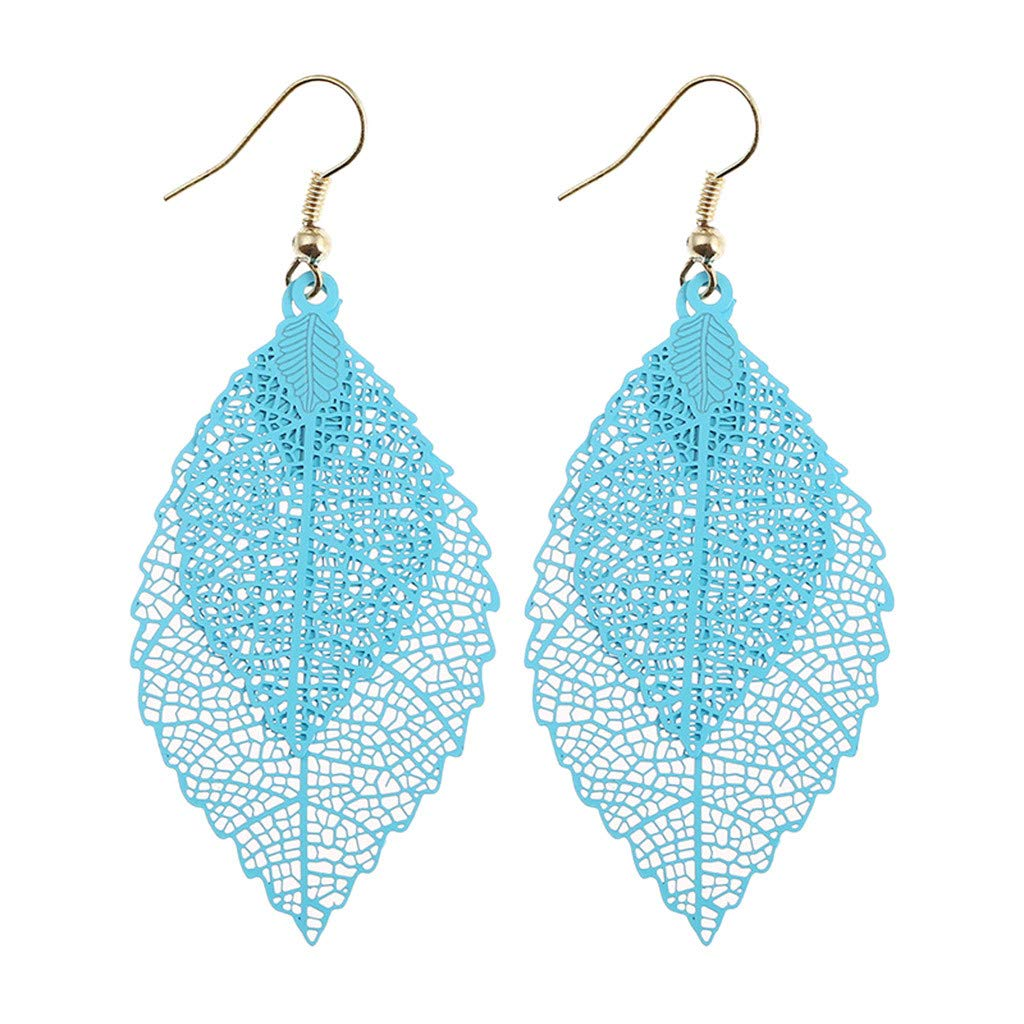 SuperXC Hollow Printed Leaves Dangle Earrings,Vintage Hook Drop Earrings for Women Fashion Jewelry Bohemia Earrings