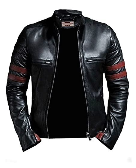 Paramount Leather's Tough Look Black and Red Faux Leather Jacket ...