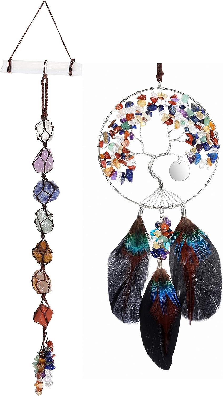 PESOENTH Bundle – 2 Items:7 Chakra Tree of Life Dream Catcher Crystals Hanging Wall Decoration + 7 Chakra Gemstones Crystal Window Hanging Ornament Selenite Stick