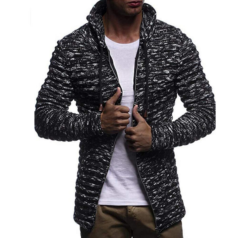Knit Cardigan Hoodies for Men, Corriee Autumn Winter Solid Zip Knit Sweater Coat Mens Long Sleeve Stripe Jacket Outwear