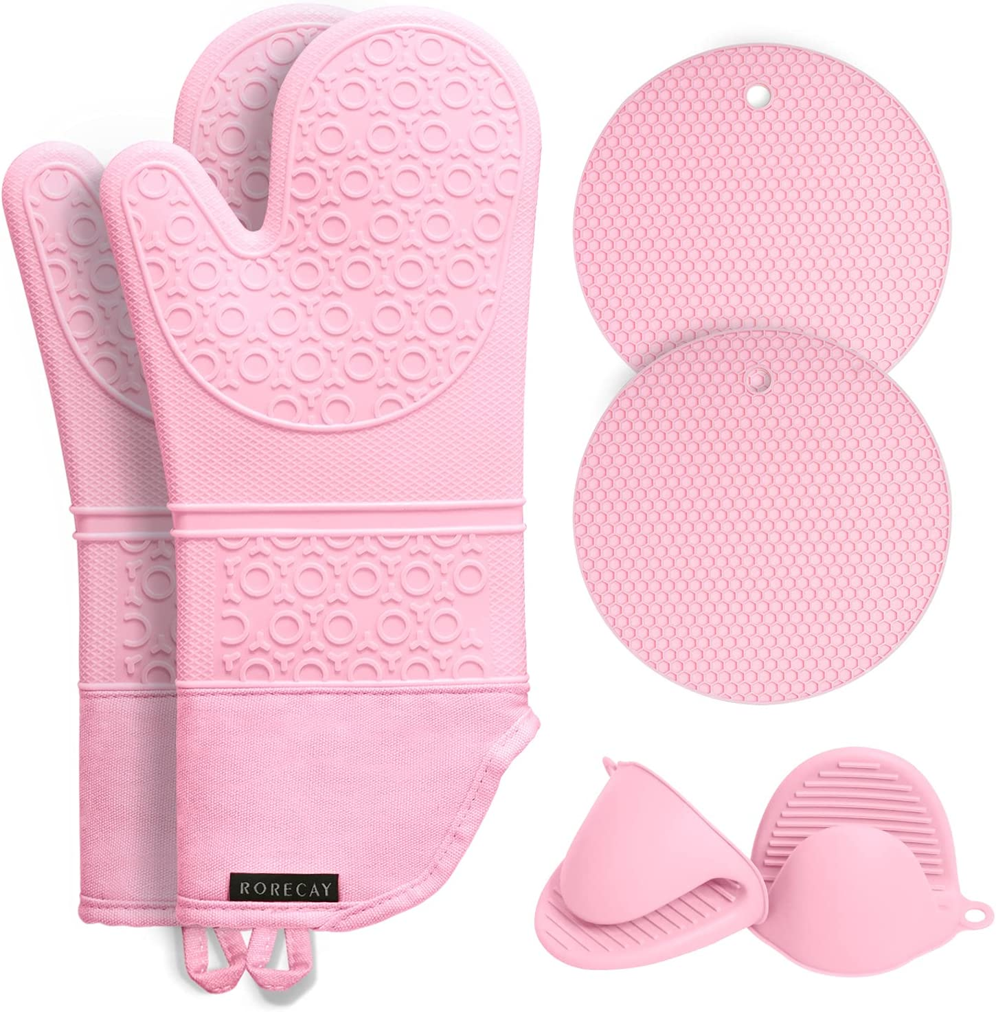 Rorecay Extra Long Oven Mitts and Pot Holders Sets: Heat Resistant Silicone Oven Mittens with Mini Oven Gloves and Hot Pads Potholders for Kitchen Baking Cooking, Quilted Liner, Pack of 6 (Pink)