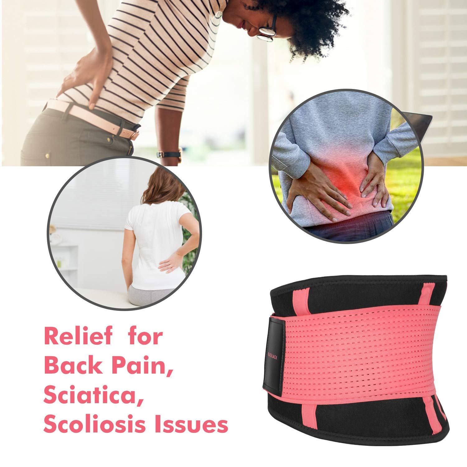 Scoliosis with Breathable Mesh Design Sciatica BLACK JACK K K Waist Trainer Belt for Women Back Brace Support Waist Cincher/ Trimmer for Back Pain