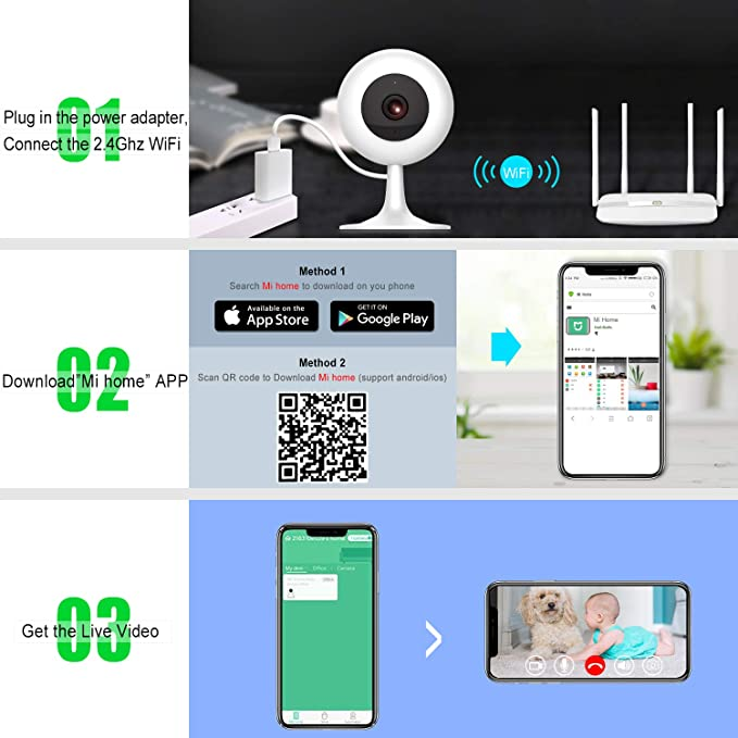 MI Wireless Security Camera 1080P, Xiaomi Smart Home WiFi Camera  Surveillance System for Baby Parent Pet Monitor,Two-Way Audio,Night  Vision,Motion