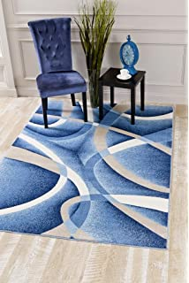 2305 Blue Swirls 5u00272 X 7u00272 Modern Abstract Area Rug Carpet