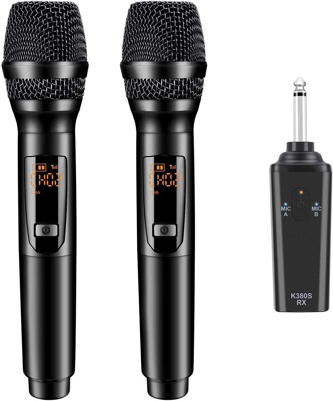 Gifort Micrófonos dinámicos profesionales de mano UHF de 10 canales con mini receptor portátil naranja