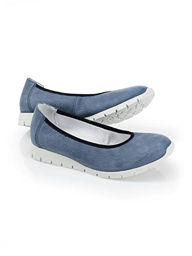 Damen Nubuk-Stiefelette Wellenprofil, Einfarbig Blau Gr. 38 Walbusch