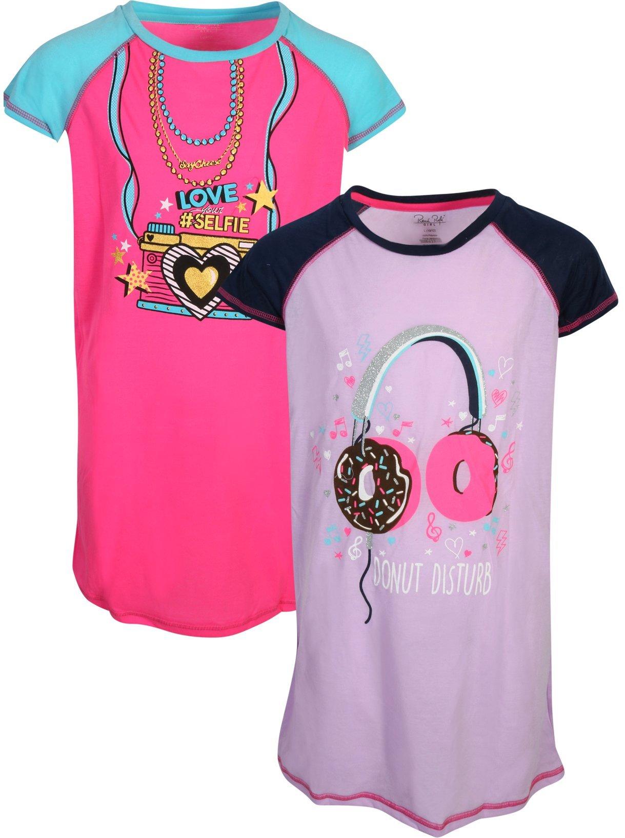 Rene Rofe Girl's Nightgown Pajama Set (2 Pack) Love Selfie/Donut Disturb, X-Small- 4/5'