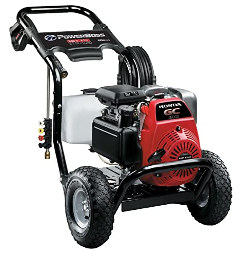 PowerBoss Gas Pressure Washer 3100 PSI, 2 7 GPM Powered by HONDA GC190  Engine with 25' High Pressure Hose, 4 Nozzles & Detergent Tank
