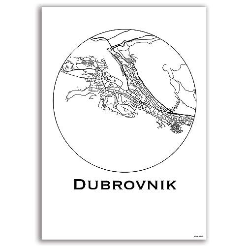 Cartel Dubrovnik Croacia Minimalista Mapa - City Map ...