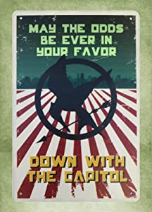 HomDeo Wall Decor Metal 8 x 12inch - Hunger Games May The Odds Be Ever in Your Favor Sign Tin Sign Personalized Metal Signs