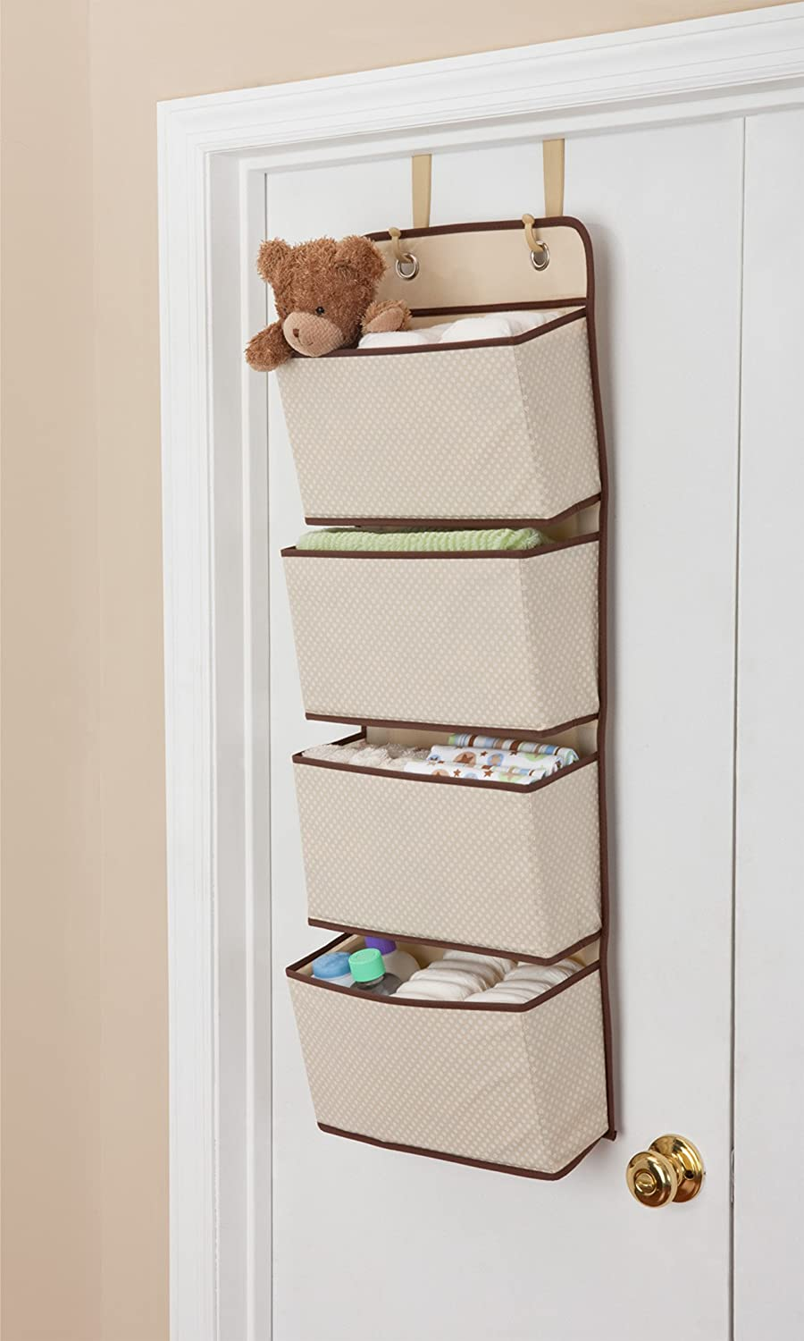 amazoncom delta children 4 pocket hanging wall organizer beige baby nice wall hanging office organizer 4