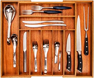 SKY LIGHT Wood Drawer Organizer, Expandable Silverware Flatware Organizer, Adjustable Utensil Holder Cutlery Tray with Grooved Drawer Dividers for Kitchen, Office, Bathroom