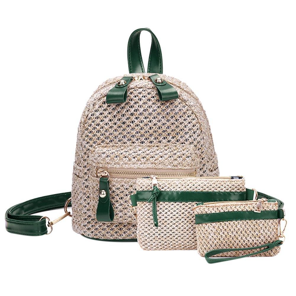 Diamondo 3pcs/Set Summer Women Straw Backpack Clutch Casual Beach Shoulder Bag/Green