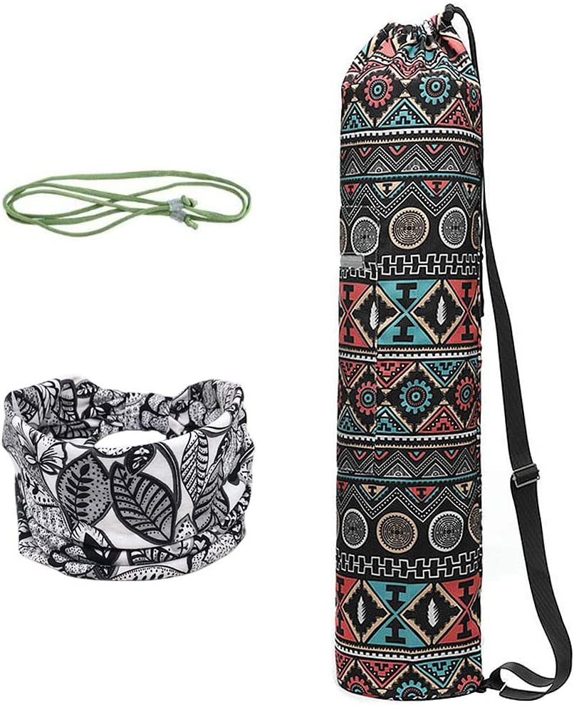 Hair Band WANYIG Yoga Mat Bag and Carriers Canvas Portable Multifunction Yoga Storage Bags Printed for Women and Men with Zipper Pockets Strip