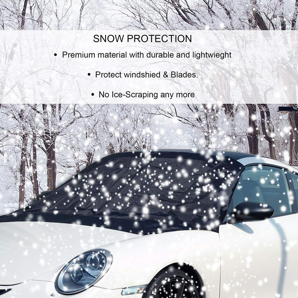 YUSHHO56T Car Windshield Cover External Decoration Car Cover Car SUV Magnetic Front Windshield Sun Snow Ice Frost Shade Cover Protector Black S