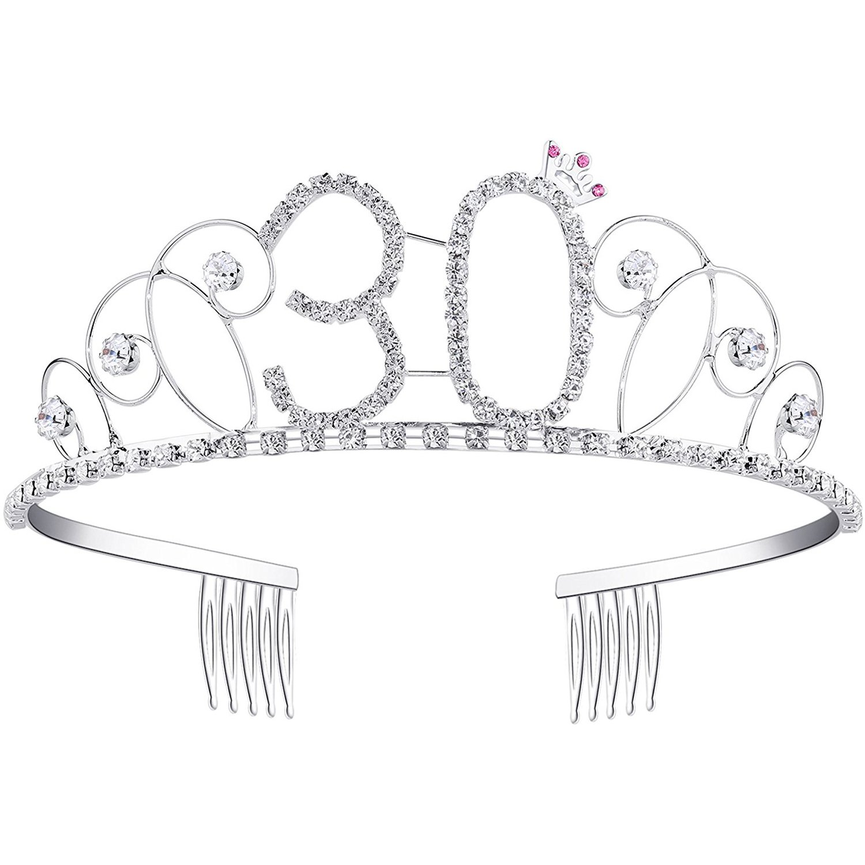 Ouinne Diadème Anniversaire Couronne Joyeux anniversaire 40 ans Strass Cristal Argent YYHG01-FBA
