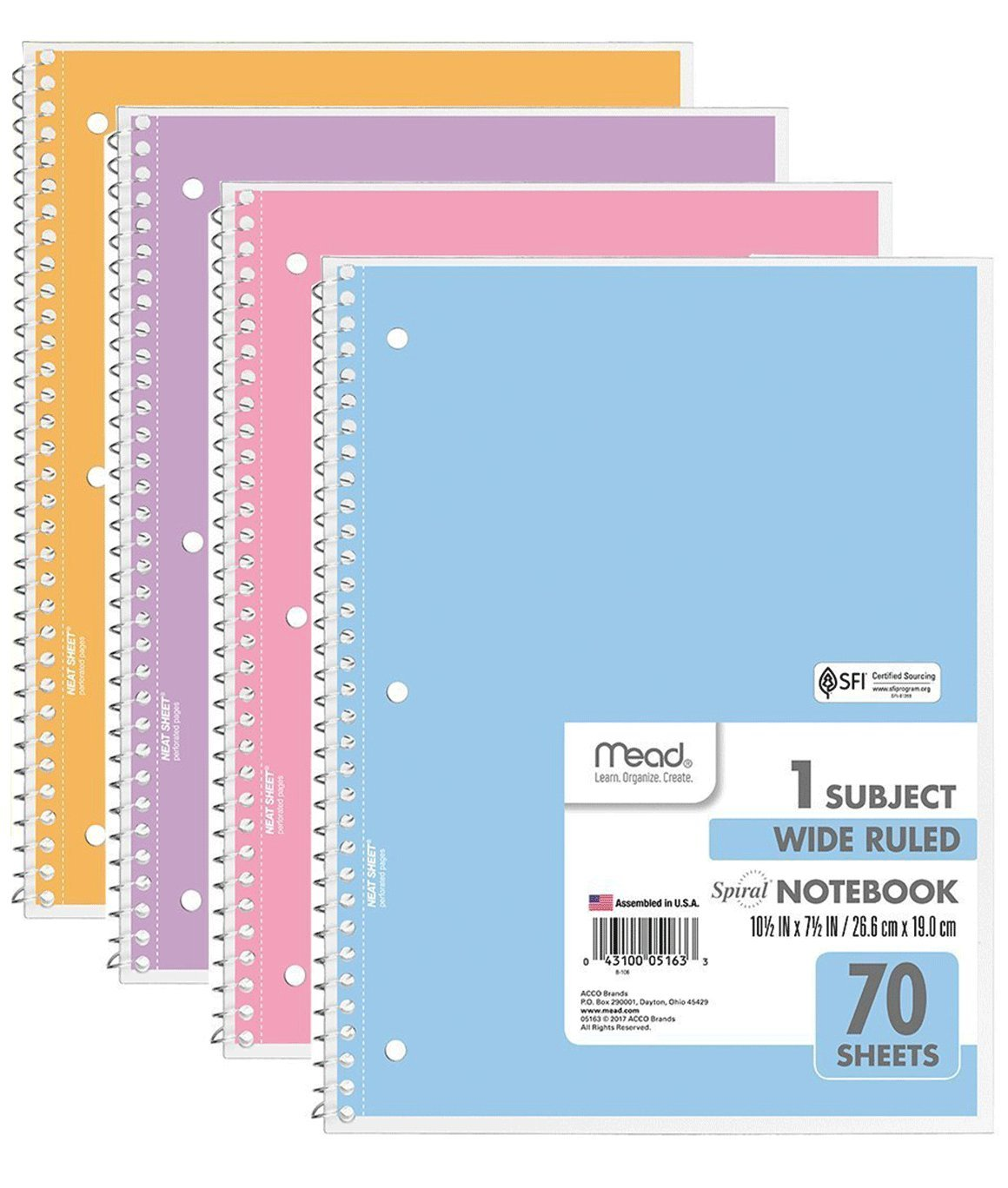 Mead Spiral Notebook, 70 Sheet Wide Ruled Notebooks, 1-Subject Notebook, Pastel Color, COLOR WILL VARY (Pack of 4)