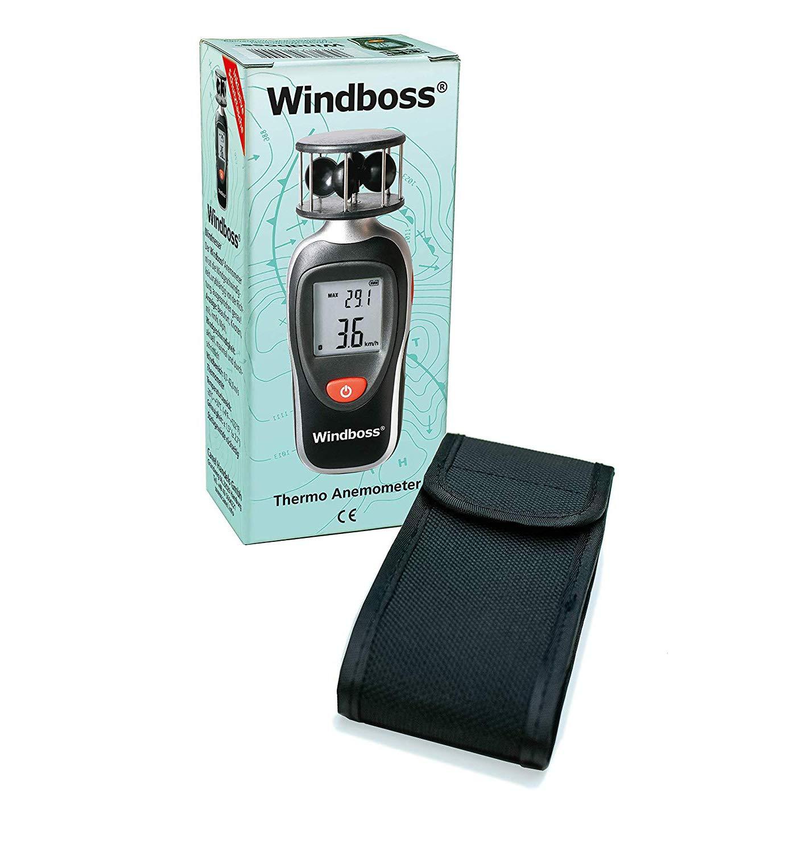 Wassersport und Temperaturmesser f/ür Segler schwarz Schutztasche Canel Wind Surfen Thermometer Anemometer Windmesser Windboss Stativgewinde