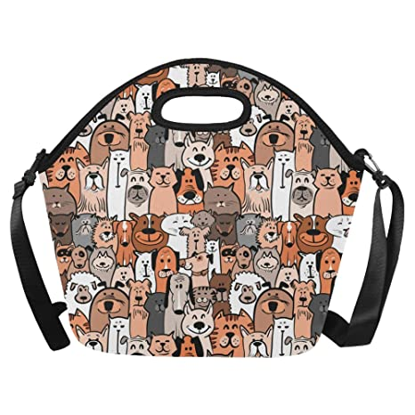 97928f411474 Amazon.com: Silly Meow Custom Large Lunch Bags Doodle Dogs and Cats ...