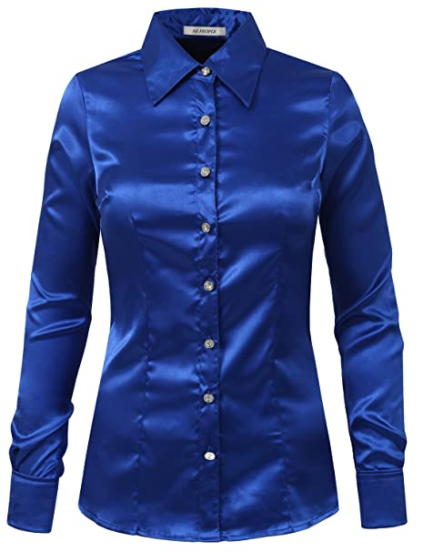 f7ce7b84ed9682 NE PEOPLE Womens Light Weight Long Cuff Sleeve Button Down Satin Shirt   Amazon.ca  Clothing   Accessories
