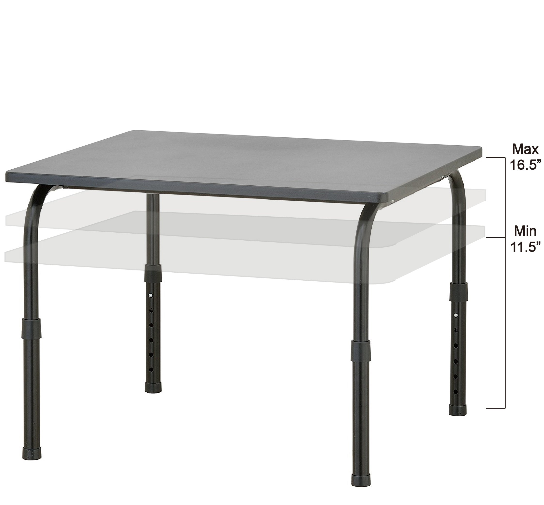 Adjustable Height Standing Black Desk Riser Workstation / Heavy Duty Laptop Table - Made in Taiwan