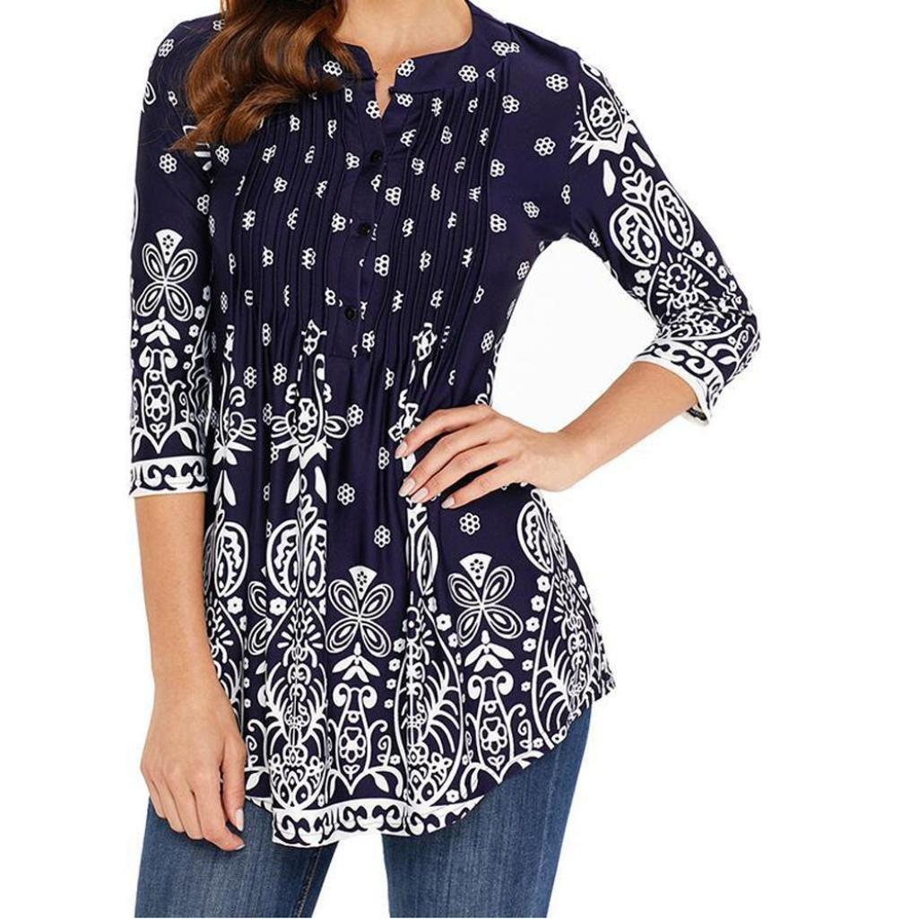 Jinjin Womens Blouse, Womens Omen Print Floral Tops Loose 3/4 Sleeve O-Neck T-Shirt Blouse (Dark Blue, L)