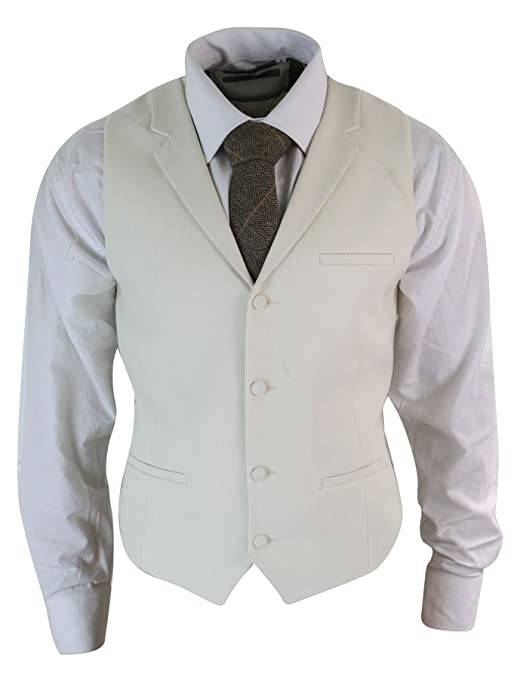 Men's Steampunk Clothing, Costumes, Fashion Mens Tweed Herringbone Retro Vintage Tailored Fit Waistcoat Collar Smart Casual $49.99 AT vintagedancer.com