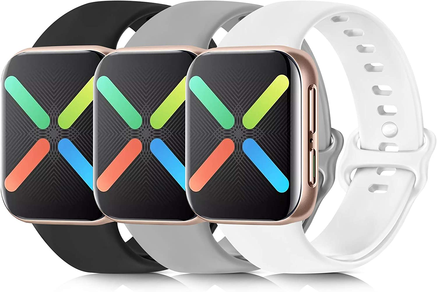 [3 Pack] Silicone Bands Compatible with Apple Watch Bands 38mm 40mm 42mm 44mm, Soft Wristbands Compatible with iWatch Bands (Black/Gray/White, 38mm/40mm-S/M)