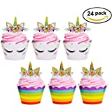 Unicorn Cupcake Toppers and Wrappers Double Sided Kids Party Cake Decorations Set for Christmas Birthday Party Baby Shower Wedding Cake Decor(24 Pack)