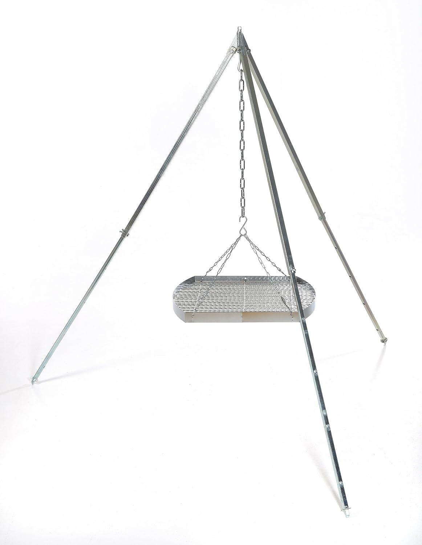 Ungarischer Grillrost (50cm) mit Dreibein (170cm) ✓ Verchromt ✓ Mit Außenring ✓ Besonders robust | Grillgitter zum Aufhängen am Dreibein | Gitterrost, Grillauflage für Schwenk-Grill acerto