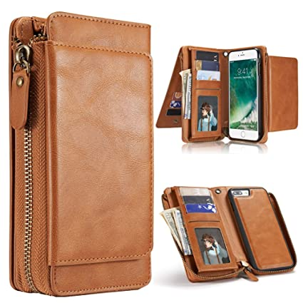 brand new fab13 ebda5 iPhone 7 Plus Case, iPhone 8 Plus Case, Premium Leather Wallet with Card  Holder for Men/Women's Removable Cell Phone Shell Skin Magnetic Cover for  ...