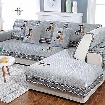 JiaQi Felpa Universal Protector para sofás,Protector de los Muebles para 1 2 3 4 Cojines sofá Cubierta del Brazo del sofá-H 110x240cm(43x94inch)