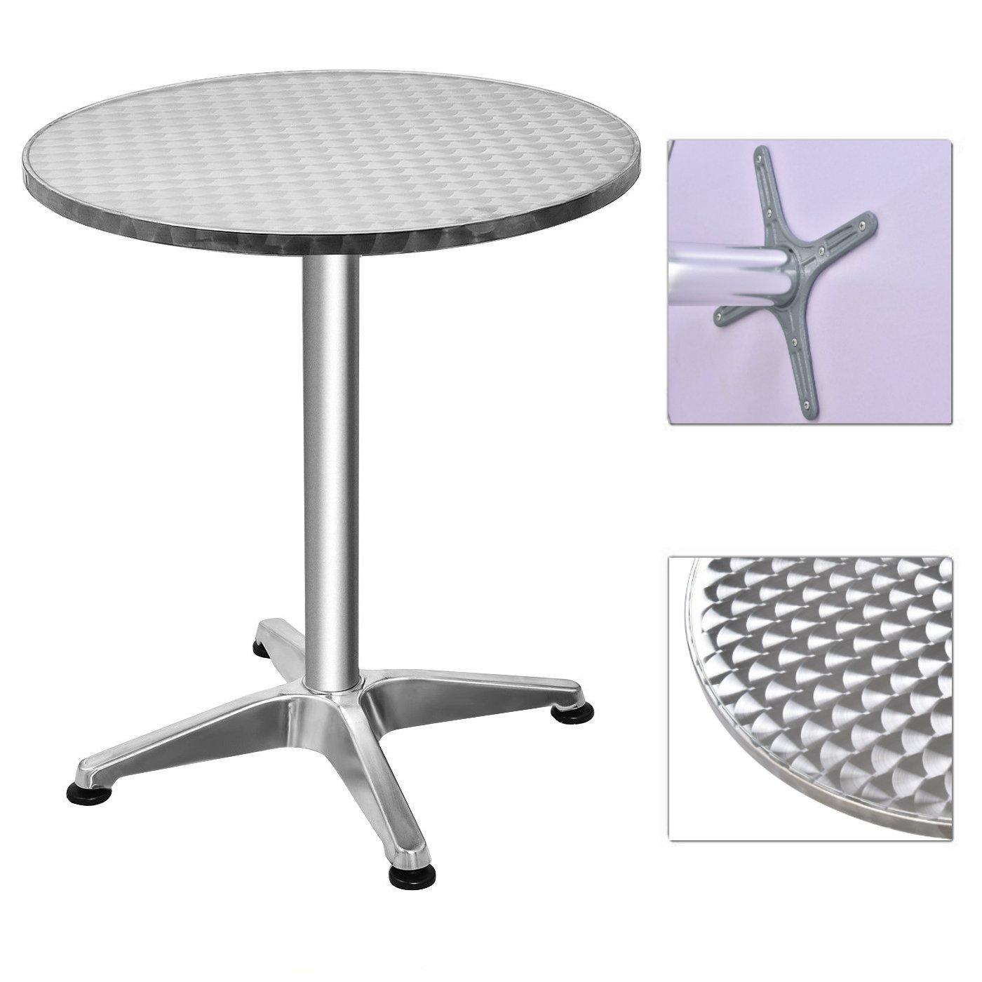 Durable Aluminium Round Top Bar Table Bistro Pub Cocktail Pedestal Table