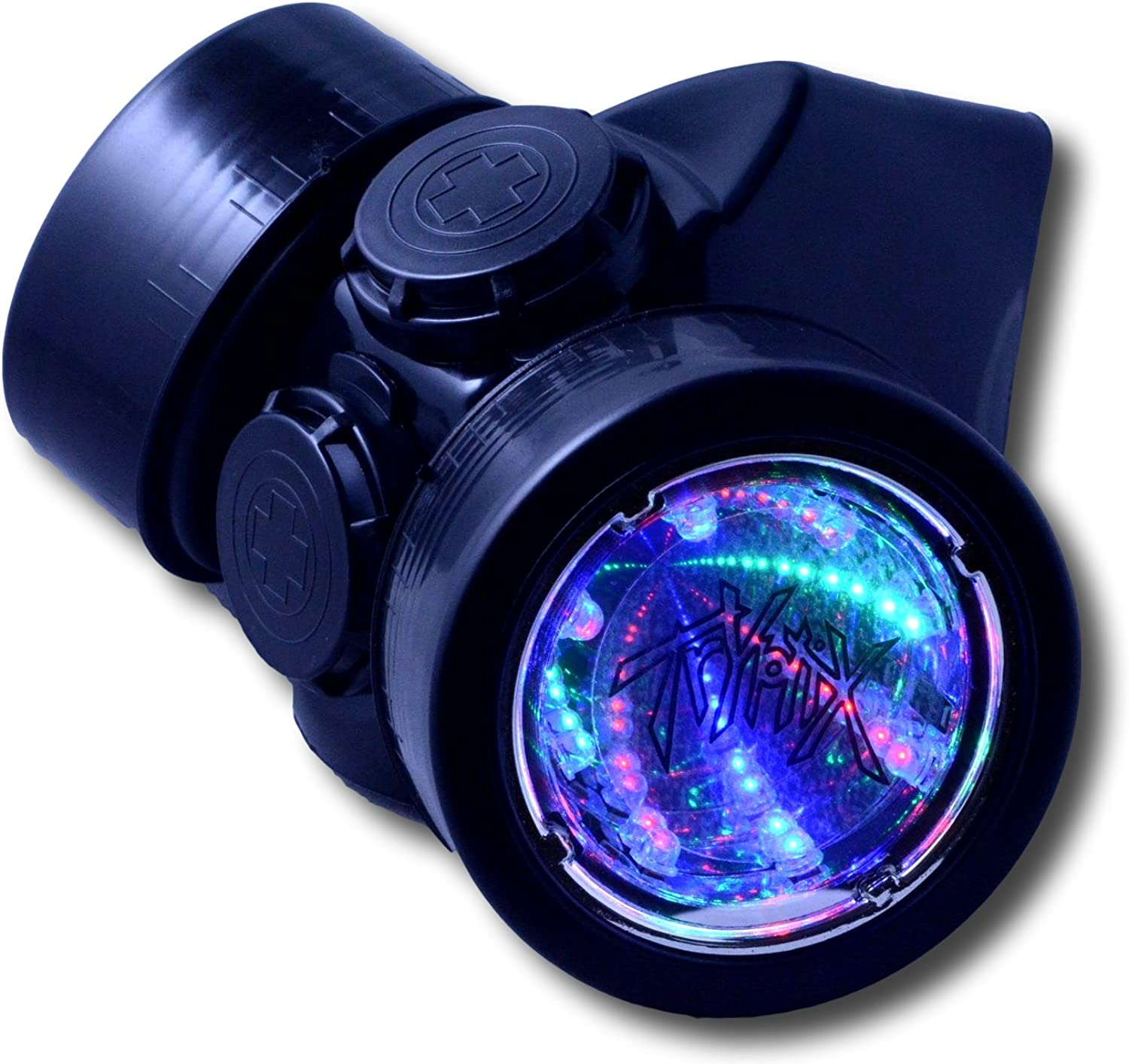 TrYptiX Mens LED Black Framed Steampunk Gas Mask