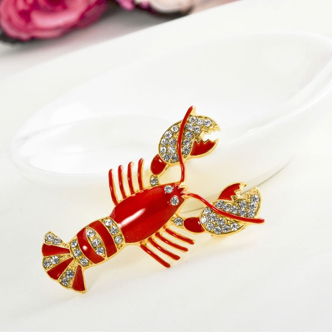 Zmdnys /® Women Lobster Brooch Jewelry Environmental Alloy Crystal Brooch Pins