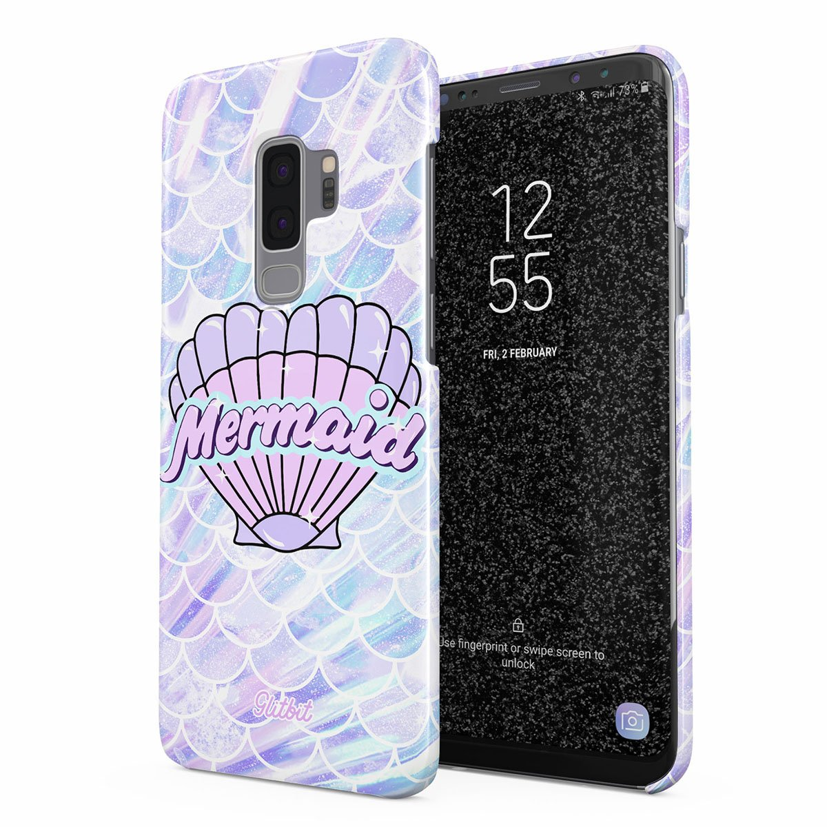 Glitbit Compatible with Samsung Galaxy S9 Plus Case Mermaid Seashell Paua Abalone Queen Princess Ocean Sea Holographic Purple Aesthetic Thin Design Durable Hard Shell Plastic Protective Case Cover by Glitbit