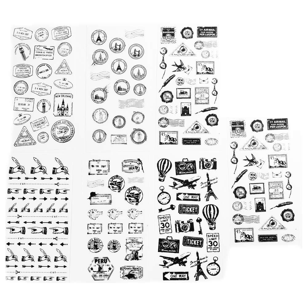Tcplyn Premium Quality Life Imprint Diary Stickers Student Creative Stationery Envelope Album Decor Stickers DIY Black and White Decorative Diary Scrapbook 6Pcs/Set