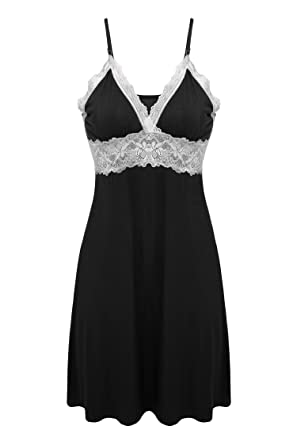 Ekouaer Sleepwear Womens Chemise Nightgown Full Slip Lace Lounge ... 1161d2659