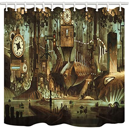 NYMB Science Fiction Shower Curtain Machinery Clock Steampunk Steel Industrial City Mildew Resistant Polyester