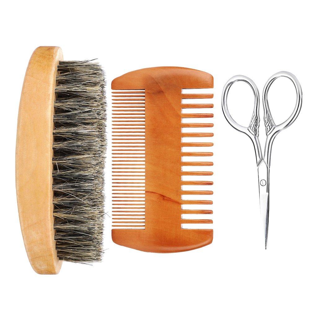 Shaving Brush Set, Men Facial Mustache Beard Brush Hair Face Cleaning Massager Groooming Kit Tool Boar Bristle Wood Handle(Beard Kit) Filfeel