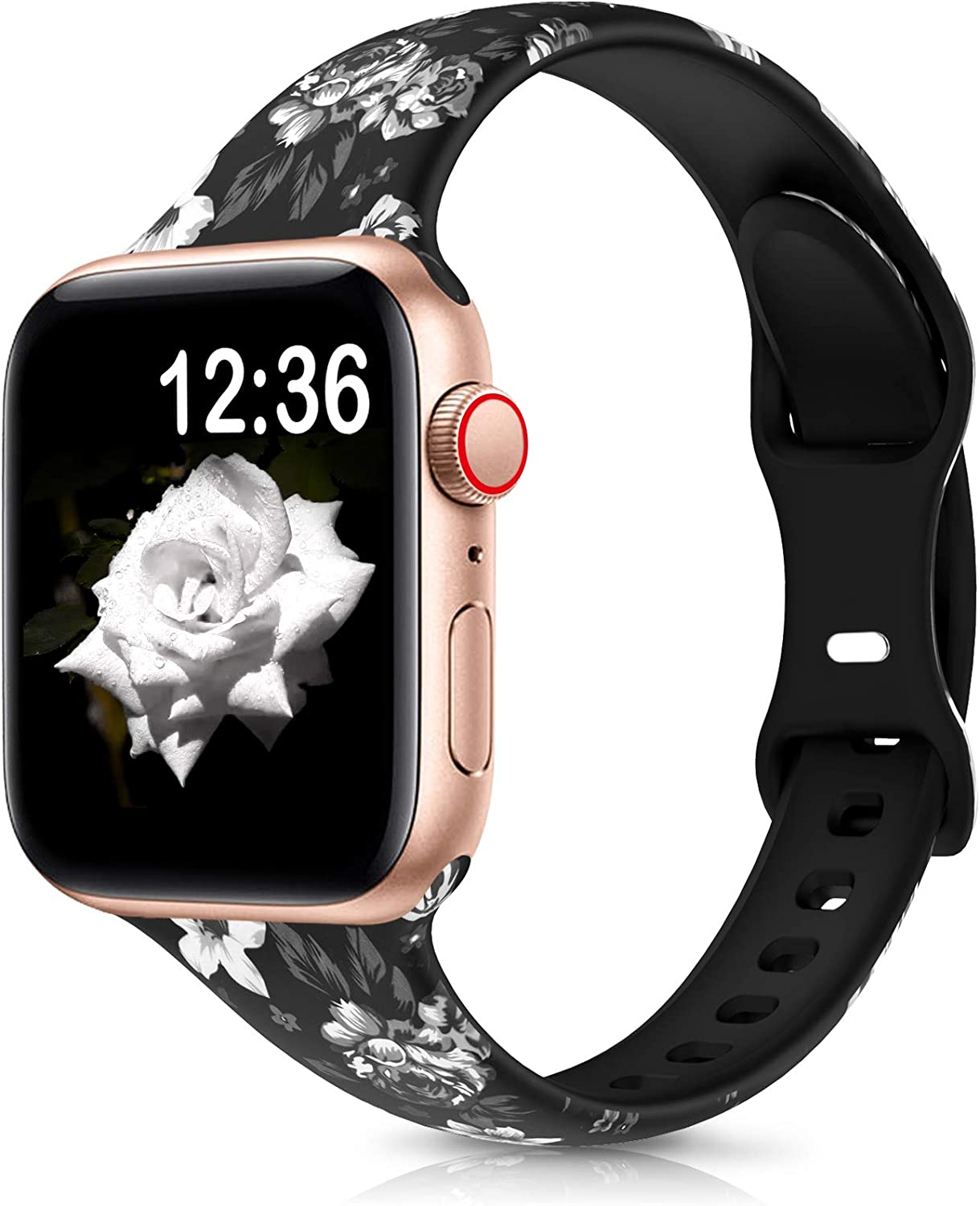 OHOTLOVE Floral Bands Compatible with Apple Watch 38mm 40mm 42mm 44mm for Women Men, Breathable Narrow Soft Fadeless Floral Silicone Slim Thin Replacement Wristband for iWatch SE & Series 6/5/4/3/2/1