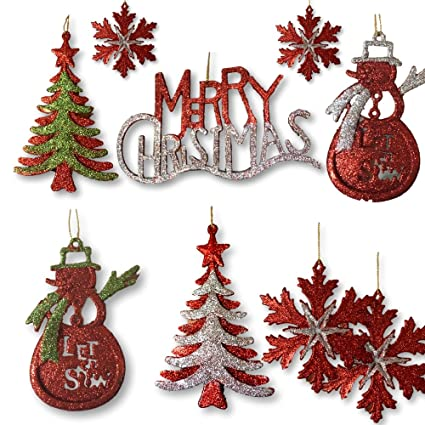 banberry designs silver red and green glitter ornaments set of 13 glittered christmas ornaments - Merry Christmas Decorations