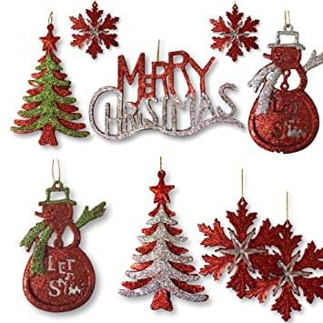 Amazon.com: BANBERRY DESIGNS Silver, Red and Green Glitter Ornaments ...