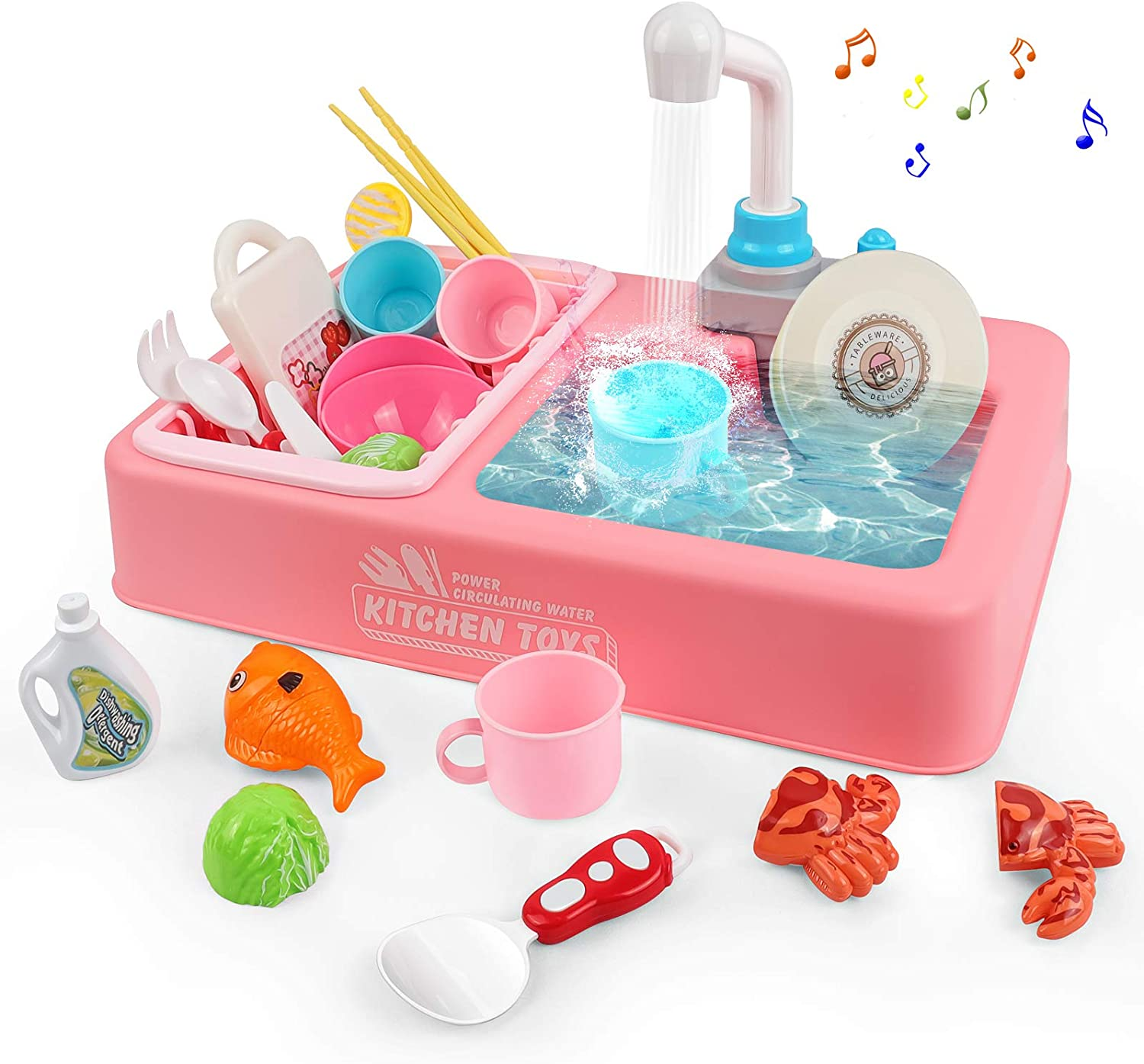 Rabing Pretend Play Kitchen Sink Toy Set with Running Water, Electric Dishwasher Playing Sink Set Toy for Girls, Role Play Sink Toy Kitchen Kids Toddler Gifts for Age 3 4 5 6 7 8, Kitchen Playset Toy