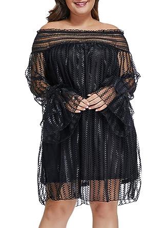 d1ccbf5168b19 XAKALAKA Women Plus Size Mesh Lace Off Shoulder Ruffle Long Sleeve Party  Mini Dress Black M