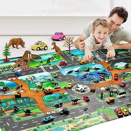Alfombra para que jueguen los niños, alfombra para niños, alfombra para animales, alfombras educativas para juegos de carretera para decoración del hogar, gimnasio para bebés y tapete para juegos: Amazon.es: Hogar