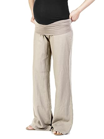 Beachcoco Women's Maternity Fold Over Comfortable Wide Linen Pants ...