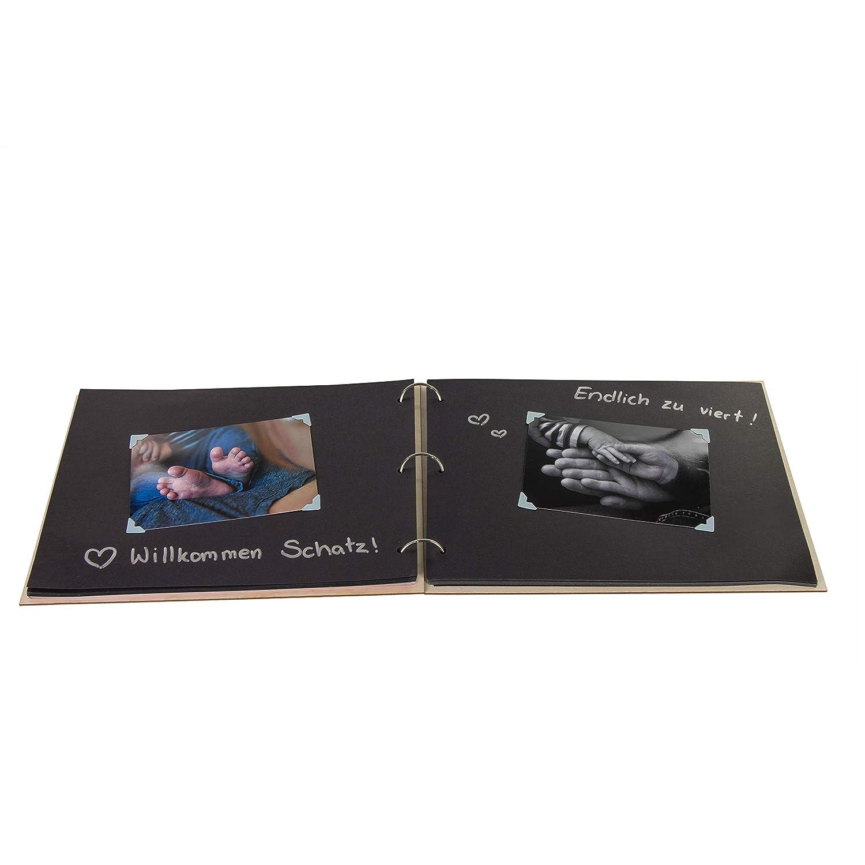 ca 31 x 22 cm Best Baby Motiv Schwarz Karton Natur Babyalbum als Geschenk zur Geburt 30 DIN A4-Seiten LAUBLUST Foto-Album aus Holz mit Gravur