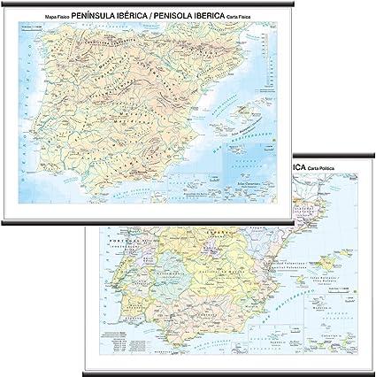 Penisola Iberica papel mural escolar bifacciale [físico/político] [132 x 99 cm] Belletti: Amazon.es: Oficina y papelería